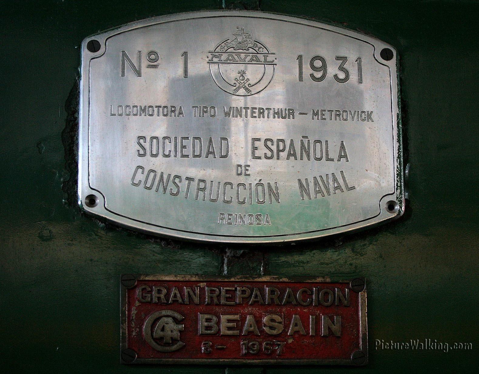 Placa de Fabricación de Una Locomotora Antigua.