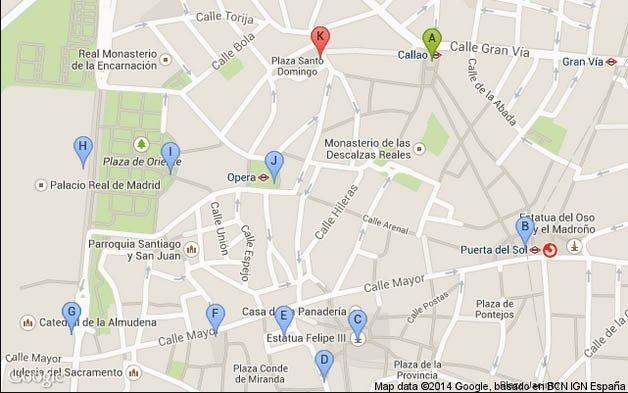 Plano de Madrid, Ruta de Paseo 1