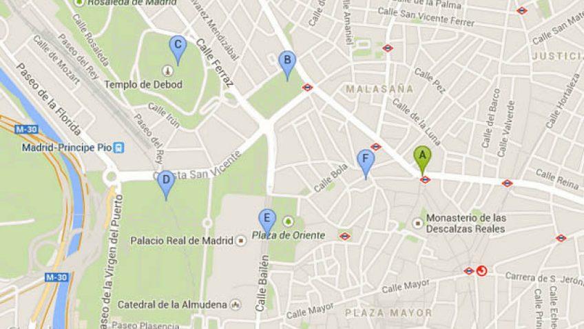 Plaza España, Templo de Debod, Jardines de Sabatini...
