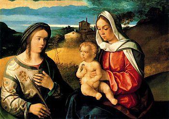 Español: Virgen con el niño y Santa Inés en un...